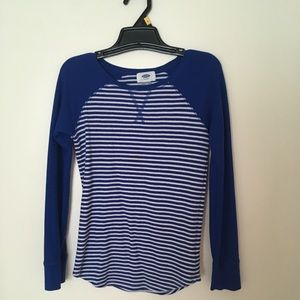 Blue and White Striped Long Sleeve Size 10-12 ❄️